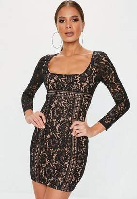 Missguided Black Long Sleeve Lace Overlay Mini Dress