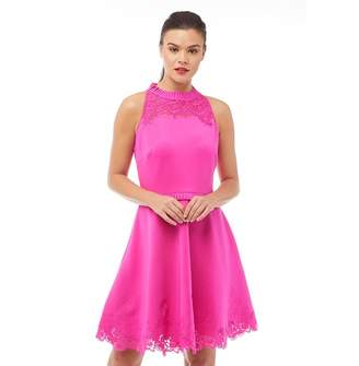 39c1b056ef6e Ted Baker Womens Zaffron Embroidered Skater Dress Fuchsia
