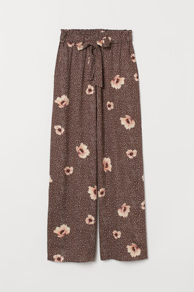H&M Wide-cut Paper-bag Pants - Brown