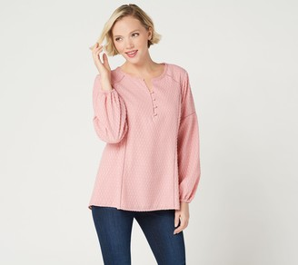 Isaac Mizrahi Live! Clip Dot Blouse with Ladder Lace Detail
