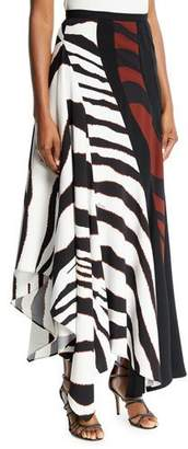 Roberto Cavalli Multi-Shadow Zebra-Print Crepe Maxi Skirt