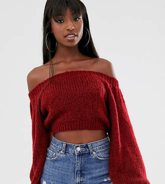 Asos Tall DESIGN Tall crop off shoulder sweater in lofty yarn