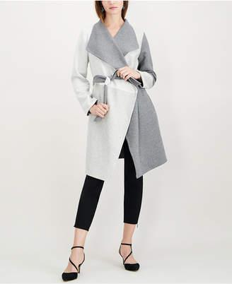 Alfani Petite Draped Colorblocked Coat