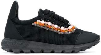 NO KA 'OI No Ka' Oi beaded trim lace-up sneakers
