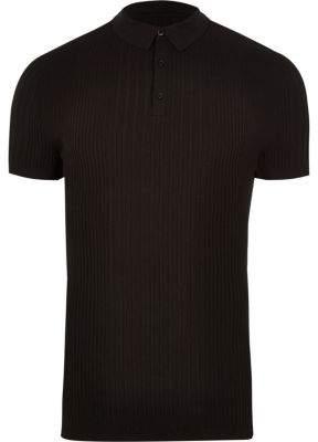 River Island Black rib slim fit polo shirt
