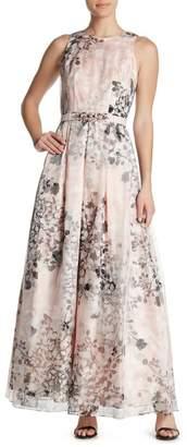 Eliza J Back Cutout Floral Print Gown