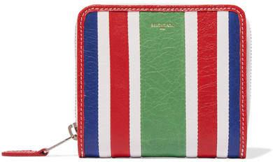 Balenciaga Balenciaga - Striped Textured-leather Wallet - Green