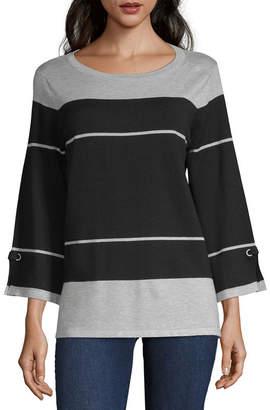 Liz Claiborne 3/4 Sleeve Round Neck Pullover Sweater