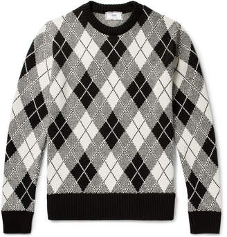 Ami Argyle Jacquard-Knit Sweater