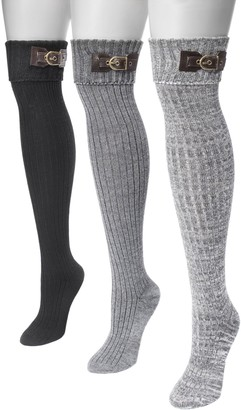 Muk Luks Women's Three Pairs Buckle Cuff Over the Knee Socks