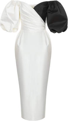 Rasario Black and White Midi Dress