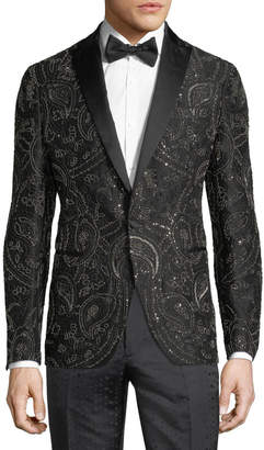 Etro Beaded Satin-Trim Evening Jacket