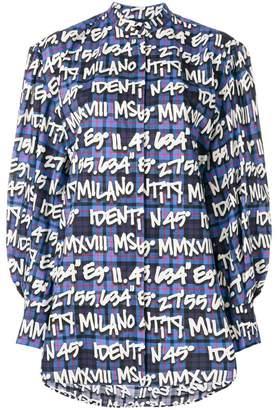 MSGM text print check shirt