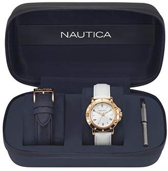 Nautica Men's 'PORTHOLE' Quartz Stainless Steel and Leather Sport Watch