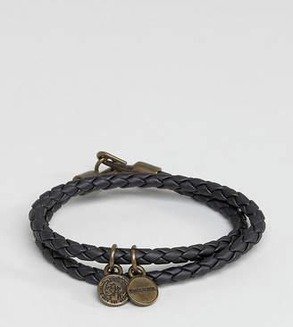 Diesel Alucy Wrap Leather Bracelet In Black