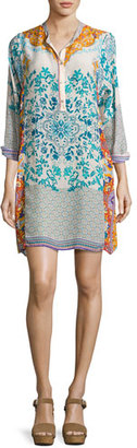 Johnny Was Ellyonora Half-Placket Floral Georgette Dress, Multi, Petite $295 thestylecure.com