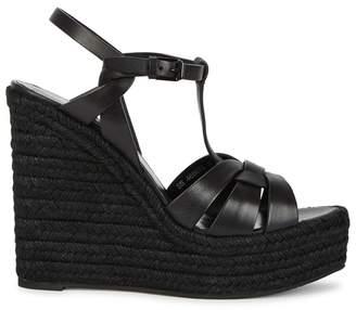 Saint Laurent Tribute Black Espadrille Wedge Sandals