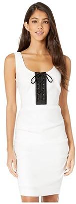 Nicole Miller Solid Stretch Linen Scoop Neck Tuck Dress
