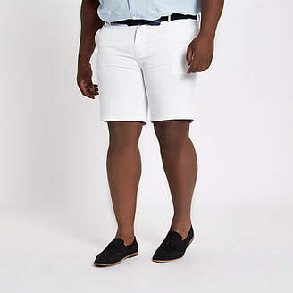 River Island Big and Tall white belted chino shorts
