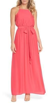 Felicity & Coco Neela Tie Waist Maxi Halter Dress (Regular & Petite)