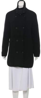 Bottega Veneta Leather-Trimmed Wool Cardigan Black Leather-Trimmed Wool Cardigan