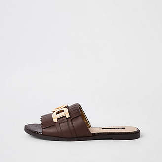 River Island Brown peep toe backless loafers