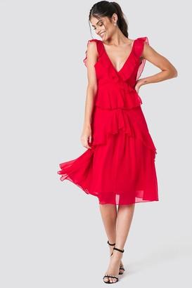 Na Kd Trend Deep Back Frill Chiffon Dress