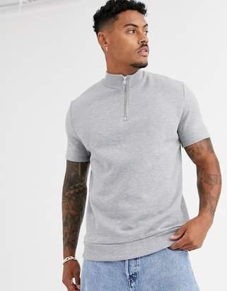 1129b183 Asos Design DESIGN short sleeve sweatshirt with half zip in grey marl
