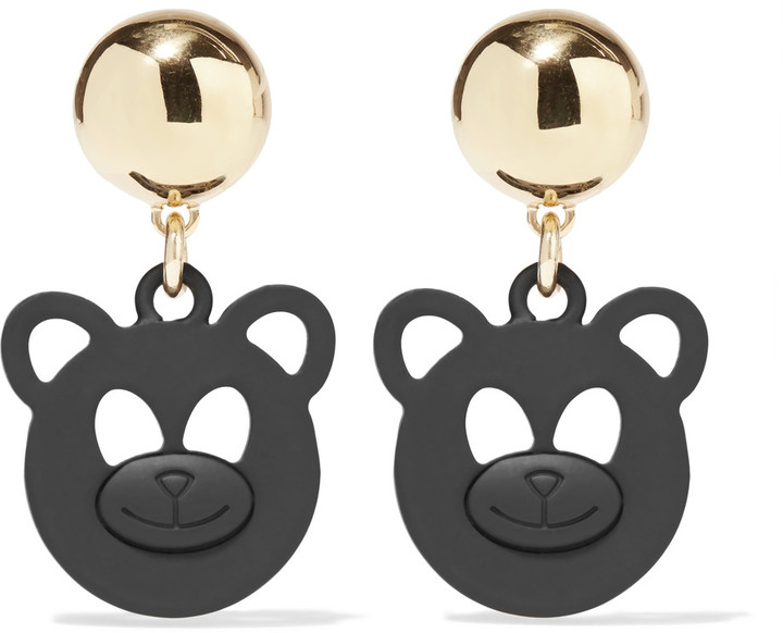 MoschinoMoschino Gold-tone and coated metal earrings