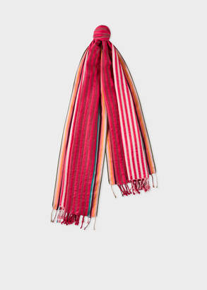 Paul Smith Men's Two-Tone Red Stripe Cotton-Silk Scarf