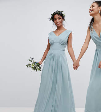 TFNC Petite Sleeveless Maxi Bridesmaid Dress With Pleated Skirt