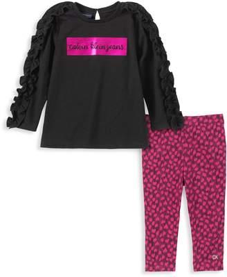 Calvin Klein Little Girl's 2-Piece Fleece Cotton-Blend Top Leggings Set