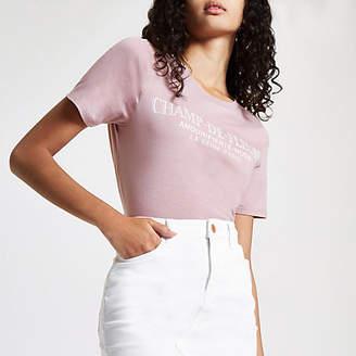 River Island Pink 'Champ-de-fleurs' print T-shirt