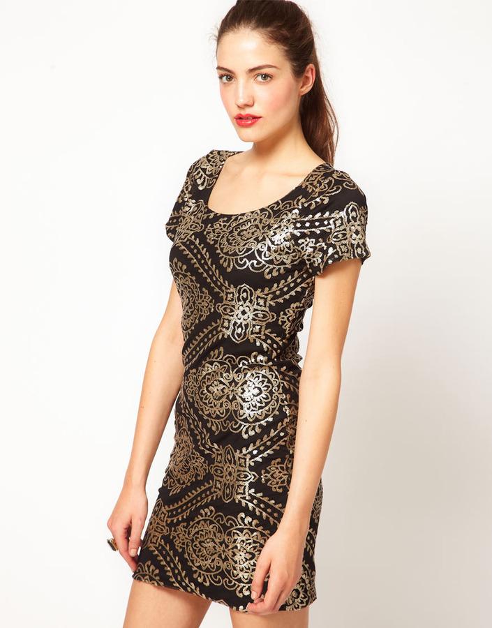 Vero Moda Baroque Sequin Embellished Mini Dress