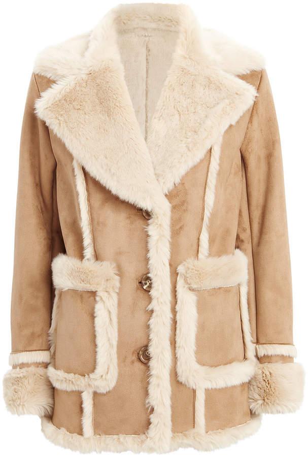 Patch Pocket Brown Faux Fur Coat