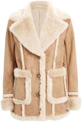 Mother Patch Pocket Brown Faux Fur Coat