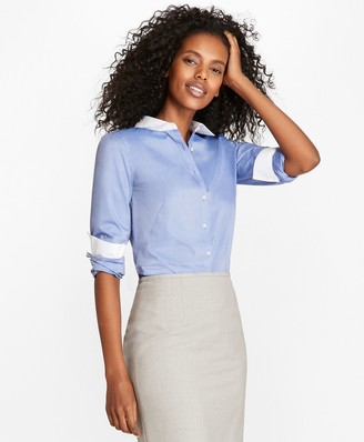 Brooks Brothers Non-Iron Cotton Poplin Contrast-Collar Fitted Shirt