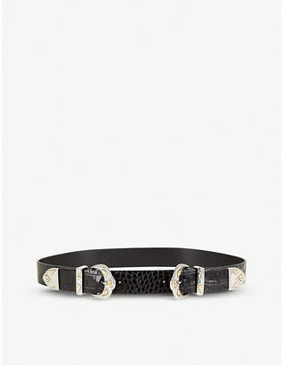 Maje Ariona2 crocodile-pattern leather belt
