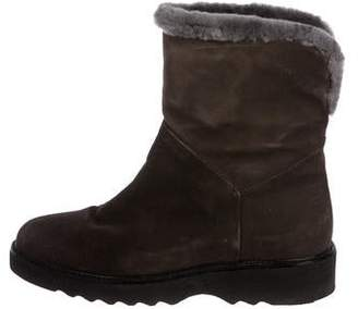 Aquatalia Suede Shearling Lined Ankle Boots