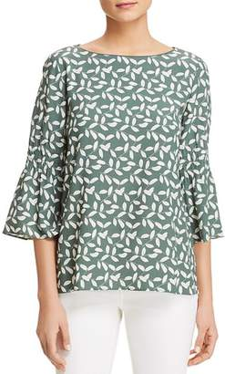 Lafayette 148 New York Leaf-Print Bell-Sleeve Blouse