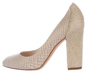 Christian Dior Snakeskin Round-Toe Pumps