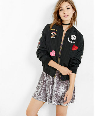 Express black bomber with patches $128 thestylecure.com