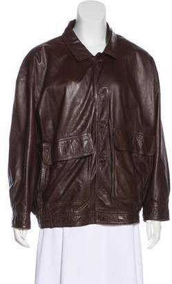 Barneys New York Barney's New York Leather Oversize Casual Jacket
