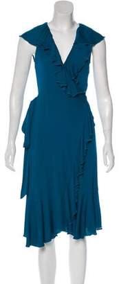 Diane von Furstenberg Ruffled Sleeveless Midi Dress