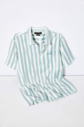 20c10e179086 Urban Outfitters Basic Vertical Stripe Satin Short Sleeve Button-Down Shirt