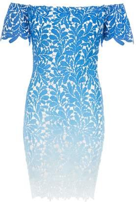 Quiz Blue Crochet Bardot Bodycon Dress