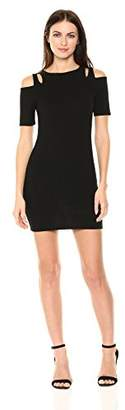 Painted Heart Women's Cutout Cold Shoulder Fitted Rib Mini Dress