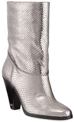 MICHAEL Michael Kors Divia Diamond Metallic Leather Mid-Calf Boots