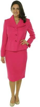 Evan Picone Women's 2 Piece Double Collar Jacket Skirt Suit Set Daisy Pink