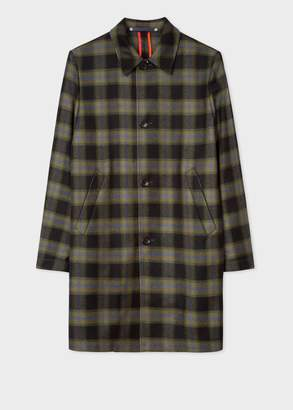 Paul Smith Men's Black And Green Check Wool-Blend Unlined Mac